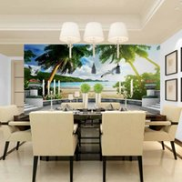 backgrounds beaches - Modern D environmental non woven wall stickers large beach scenery suitable restaurant bedroom living room sofa background