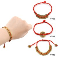 Wholesale piece Chinese Feng Shui Wealth Lucky Copper Coin Pendant Adjustable Red String Bracelet Jewelry