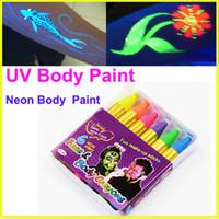 Wholesale ody Body Paint UV Body Paint Neon maquiagem makeup kids face paint pigment uv glow painting fluorescent crayons color akvagrim pintura co