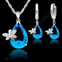 Wholesale Hot Jewelry Sets Real Pure Fine Sterling Silver Austrian Crystal Butterfly Drop CZ Pendant Necklace LeverBack Hoop Earrings