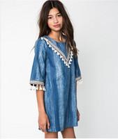 big jean wholesale - 2016 Junior Big Kids Teenagers Denim Tassel Dresses Baby Girl Wash Blue Fashion Jean Dress Girl Autumn Christmas Clothes