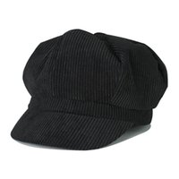 Wholesale Fashion Corduroy Solid Stripe Simple Men Women Octagonal Cap Newsboy Beret Hat Causal Cabbie Flat Casquette