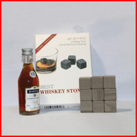 Wholesale 9pcs box Whisky Stones beer Rocks ice Cubes For Scotch Whiskey Glass Ice Stones Rock Cooler whisky ice stone Velvet bag retail box