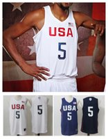 Wholesale 2016 USA Dream Olympic Men s Basketball Durant Irving Home Away Authentic Jersey High Quality Wear