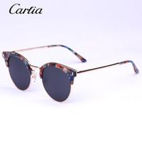 al por mayor x gafas de sol de metal-2016 Las nuevas gafas de sol del diseñador de la marca de fábrica de la llegada KOOG-X de Carfia metal los vidrios de sol redondos polarizaron las gafas de sol para las mujeres 51m m con el paquete original
