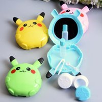 Wholesale DHL Free Poke go cute cartoon Pikachu designs contact lenses box case lens Companion box Contact Lens Kit