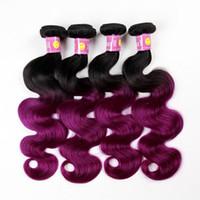 Wholesale Ombre Hair Brazilian Bundles Human Hair Body Wave straight Peruvian Hair Weave Color B Purple Ombre Hair Extensions Human Hair Weaves