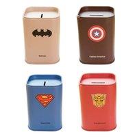 america pot - Creative Hero Alliance Iron Money Box Square Sundries Storage Box piggy bank Batman Captain America Saving Pot cm