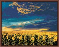 Wholesale Fashion X50cm Frameless DIY Digital Oil Canvas Painting Sun Flowers and Blue Sky by Numbers Kits with Pigment Home Decor Wall Decor