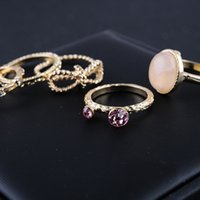 beautiful rings for men - High Quality Midi For Women Flower Crystal Acrylic Set Gold Plated Round Knuckle Bijoux set beautiful diamond single men ring Rings