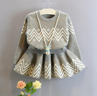 Cheap 2016 New Fall Children 2PC Clothing Set Knitted Dress Set Little Girls Pullover + Skirt Kids Gray Top + Skirt Outfits