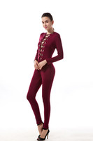 Wholesale Women High Elestic Lace Up Tie Front Stretch Rompers Jumpsuit Deep V Neck Metal Chain Long Sleeve Bodysuit Tops