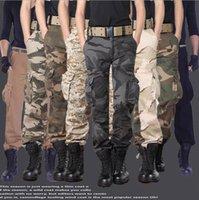 Aerotransportadas pantalones vaqueros ocasionales de formación tamaño extra grande de pantalones de algodón transpirable Multi bolsillo del ejército militar camuflaje decoración de Carga para los hombres