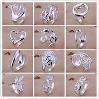 Wholesale 925 Sterling Silver Plated Multi Styles Charms Rings Vintage Finger Ring Nice Christmas Gift for women Ladies Size Open Style Mixed