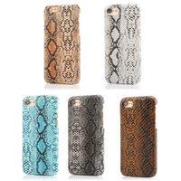 Precio de Snake skin-Para Iphone / 7plus / SE 5 5S / 6 6S / Cuero Croco Plus serpiente Escala tejido de la piel de plástico duro de la PC del caso del cocodrilo vertical de chapa de madera encolado de la manera 7