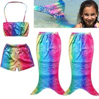 Wholesale 2016 Y Girls Kids Mermaid Tail Bikini Set Swimwear Swimming Costume Swimsuit