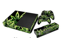 Cheap 1 Set Green Leaf Vinyl Decal Xbox One Skin Stickers PVC Protector Decals Wrap For xbox one Console and 2 Controllers