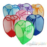Wholesale Mesh Fabric Foldable Pop Up Dirty Clothes Washing Laundry Basket Bag Bin Hamper Storage for Home Housekeeping Use NQV