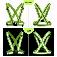 Wholesale Reflective Vest straps protective clothing waistcoat Safety for Running Jogging Walking Cycling Jacket Green Color OOA177