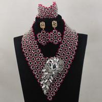 Wholesale silver fashion sets jewellery silver fushia nigerian wedding bridal jewelry bracelet set african beads necklace set