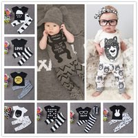 amazon blue - 2016 New Summer Cotton Baby Clothes Styles Short Long Sleeve Infant Romper Two Pieces Boys Girls Clothing Sets Amazon Hot