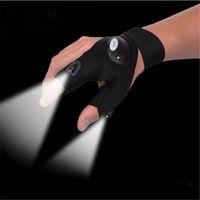 Wholesale LED Anti Slip Fishing Gloves with LED White Flashlight Outdoor Sporting Night