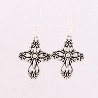 antique silver filigree - 20 x45 mm Antique Silver Filigree Heart Cross Religious Charm Pendant Earrings Silver Fish Ear Hook Jewelry E425