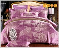 Wholesale Light purple silk bed set Jacquard satin bedding set AB side comforter cover round corner bed sheet envelope pillowcases