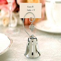 bell card holder - Charming Chrome Heart Bell Place Card Photo Holder with Dangling Heart Charm Baby Shower Favors Creative gift