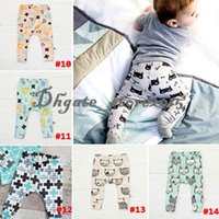 Wholesale 14 Design kids INS pp pants fashion baby toddlers boy s girl s animal fox tent wheels geometric figure pants trousers Leggings DHL