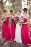Cheap 2016 New Gorgeous Bridesmaid Dress Hot Pink Chiffon Sweetheart Neckline A Line Floor Length Cheap Summer Beach Wedding Party Dresses