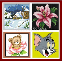 baby calligraphy - WHOLE SALE PINK FLOWER CAT TOM BABY BEAR SNOW HOUSE home decoration D DIY DIAMOND PAINTING gift for children