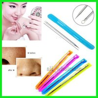 antibacterial cleaners - Professional Antibacterial black Head Pimples Acne Needle Tool Face Care Blackhead Comedone Acne Blemish Extractor Remover DHL