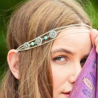 Wholesale Women Girls Fashion Head Chain Jewelry Gypsy Bohemia Retro Silver Tone Turquoise Headband Party Hair Band Head Wear Accessories FD034