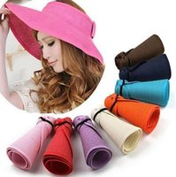 Wholesale Fashion Sun Summer Hats for Women Lady Foldable Roll Up Sun Beach Wide Brim Straw Visor Hat Cap With Multi Color
