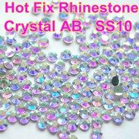 Wholesale SS10 Clear AB Crystal DMC HotFix FlatBack Rhinestones Crystal For Dress Iron on Transfer Garment Glass Stone