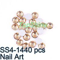 Wholesale Nail Accessories Flat Back Lt Col Topaz Good Quality ss4 mm mm bag Non Hot Fix Rhinestones For Naik Arts DIY