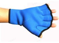 baseball aids - Swim Hand Surfing Frogs Webbed Flippers Gloves AID Paddles Training For Swimming Neoprene Lycra Blue L cm
