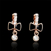 baby girl gold hoops - 18K Gold Plated Clear CZ Black Bow knot Hies Hoop Earrings Anti Allergic Jewelry For Womens Children Girls Baby Kids