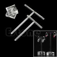 Wholesale 2Pcs Ear Studs Earrings Jewelry Display Organic Glass T Bar Stand Holder Rack