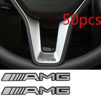 amg steering wheel - 50PCS Alloy ALUMINIUM AMG Steering Wheel Sticker Car Badge Logo Emblem S66 mm YY191