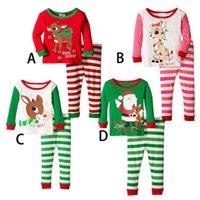 Wholesale Children Christmas Elk Stripe Pajamas Sets Stripe Long Sleeve Pants Suits Santas Sleepwear Sets Deer Tops Stripe Pants Pajamas E35