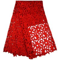 Wholesale Red color African lace fabrics high quality Yards Embroidered African cord lace for wedding New arrival guipure lace fabric