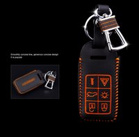 Wholesale Brand New High quality Genuine Leather Remote Control Car Key Case wallet Bag Cover For Volvo XC60 S60 S60L V60 S80L