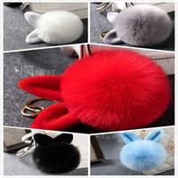 Wholesale Pompons Keychain Cute Rabbit Ear Fur Ball Keychain White Black Red Gray Blue Pompom Llaveros Mujer Car Key Ring Bag Pendant Fur Keychain