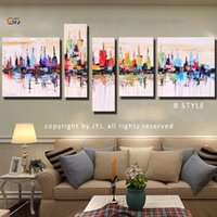 abstract art pics - Stretched with Frame Ready to Hang JYJ ART Cityscape Pic Hand Painted Modern Abstract Oil Painting On Canvas Wall Art Gift Z011