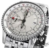 automatic winding watch box - 2016 LUXURY WATCH wristwatch BRAND NEW World GMT White Face Chronograph A24322 mm Watch Automatic Watch With BOX Men s Watches