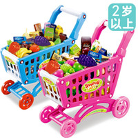 baby shopping trolley - Large shopping trolley children simulation fruit baby girl toy kitchen house supermarket trolley