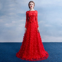 autumn festivals - Red Sexy Slim Lace Tulle Lady Formal Dresses Women Festival Party Wedding Dress Lady Prom Gowns Ball Annual Evening Dresses WWD030