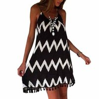 bell skirt pattern - Women Tassels Sexy Sling One piece Dress Summer Losse Chiffon Wave Pattern Black White Beach Sundress Braces Skirt
